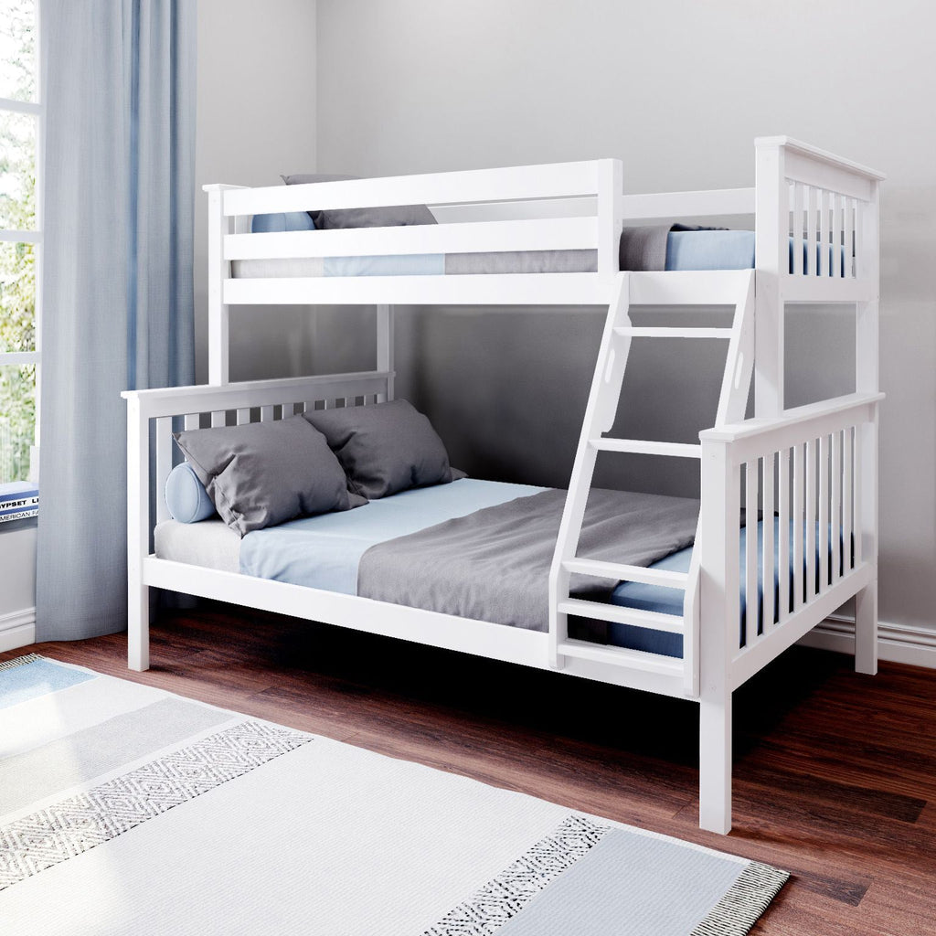 Max & Lily Kid's Twin Over Full Size Bunk Bed Bunk Beds White