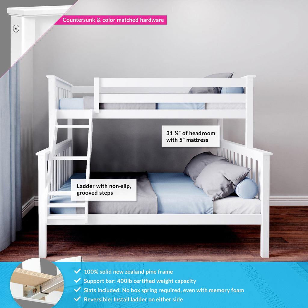 Max & Lily Kid's Twin Over Full Size Bunk Bed Bunk Beds