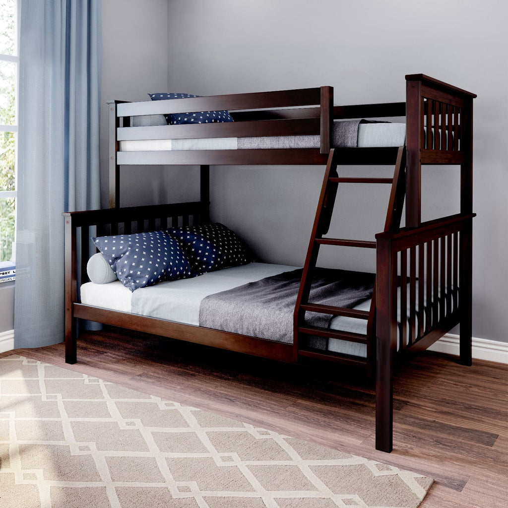 Max & Lily Kid's Twin Over Full Size Bunk Bed Bunk Beds Espresso