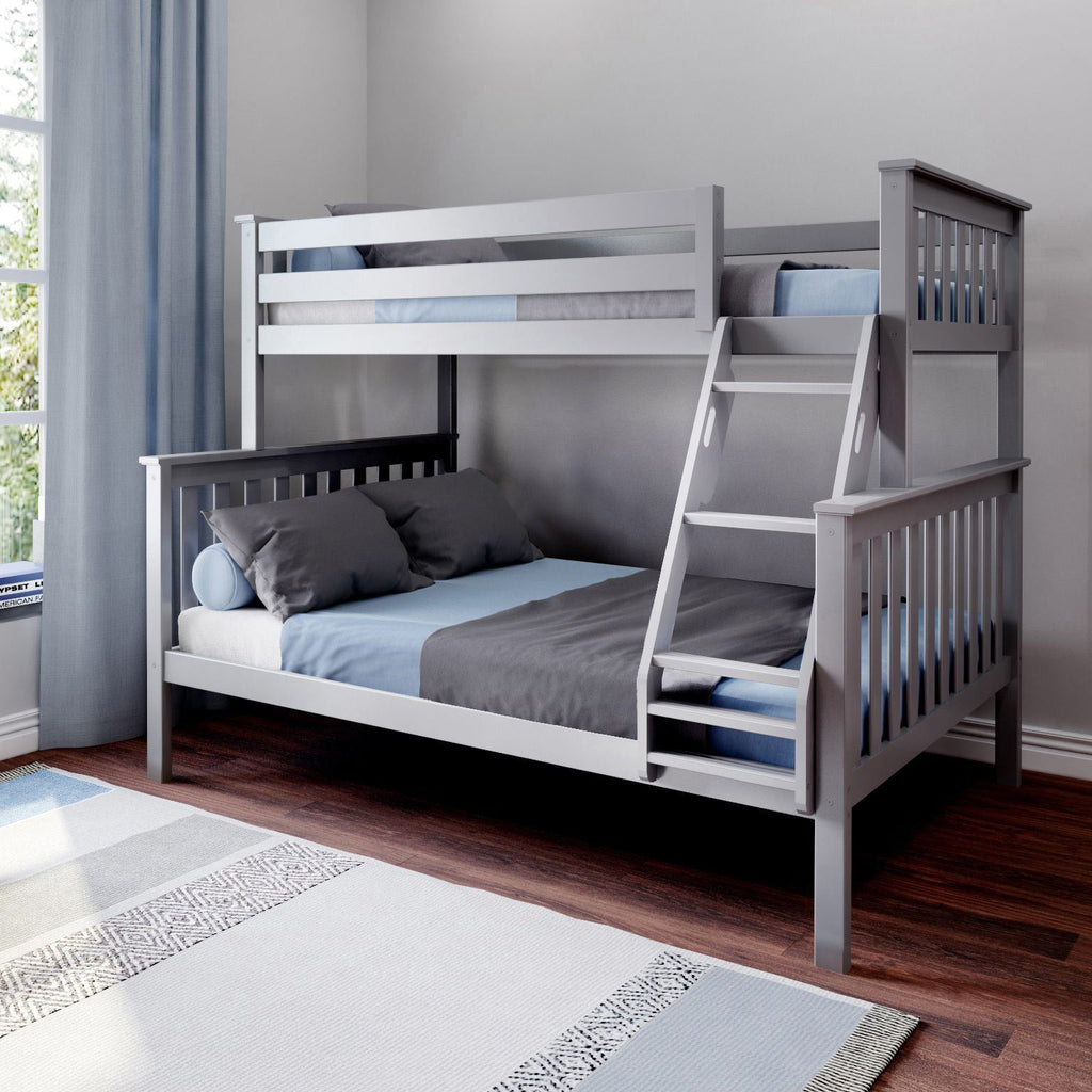 Max & Lily Kid's Twin Over Full Size Bunk Bed Bunk Beds Grey