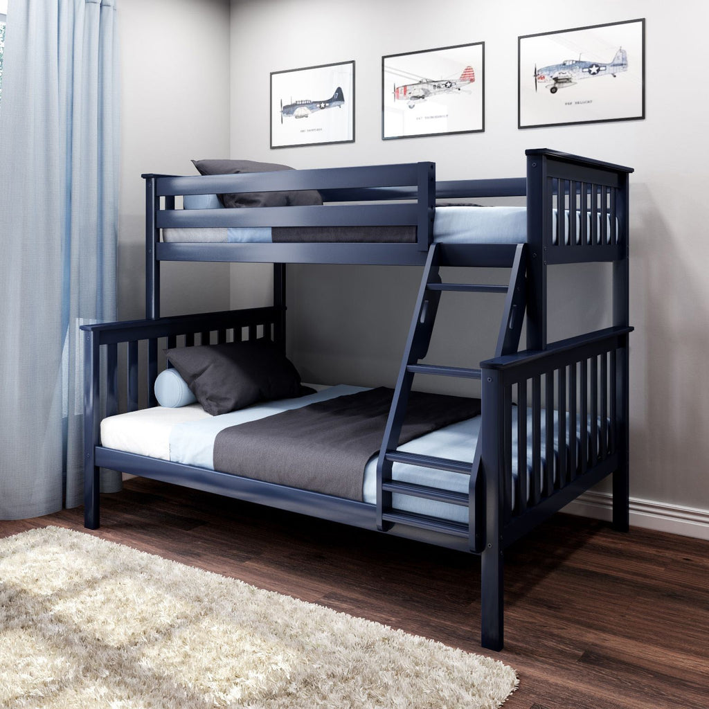 Max & Lily Kid's Twin Over Full Size Bunk Bed Bunk Beds Blue