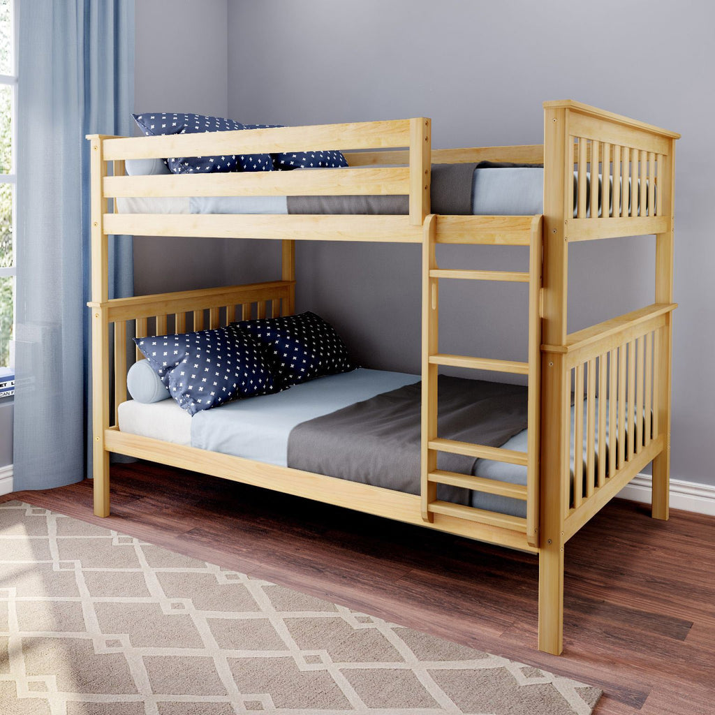 Max & Lily Kid's Solid Wood Full/Full Bunk Bed Bunk Beds Natural