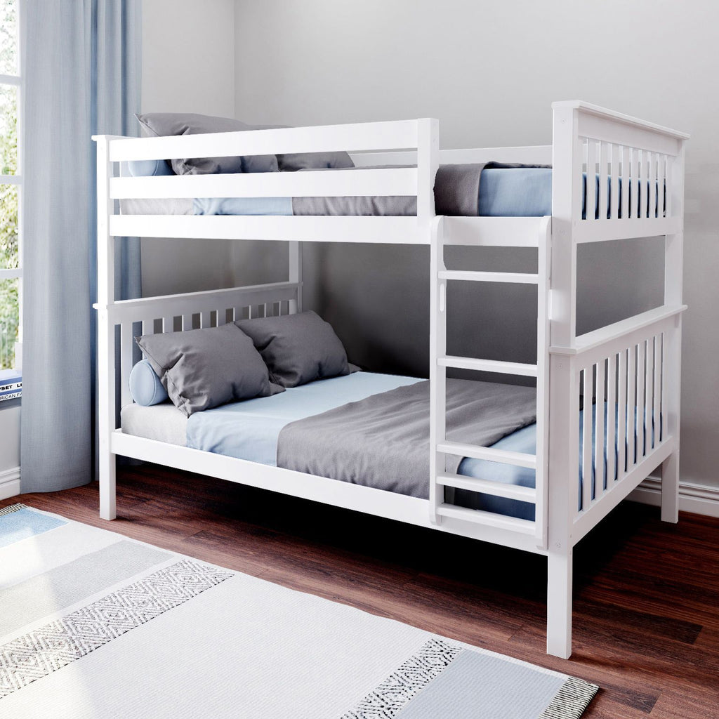 Max & Lily Kid's Solid Wood Full/Full Bunk Bed Bunk Beds White