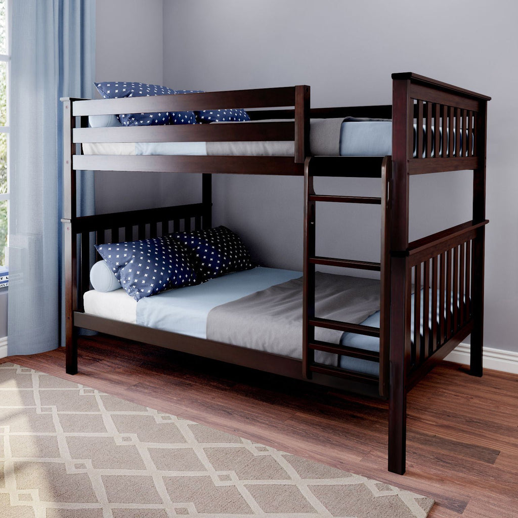 Max & Lily Kid's Solid Wood Full/Full Bunk Bed Bunk Beds Espresso