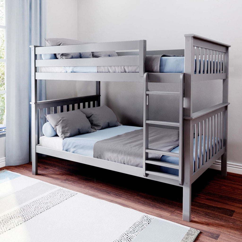 Max & Lily Kid's Solid Wood Full/Full Bunk Bed Bunk Beds Grey