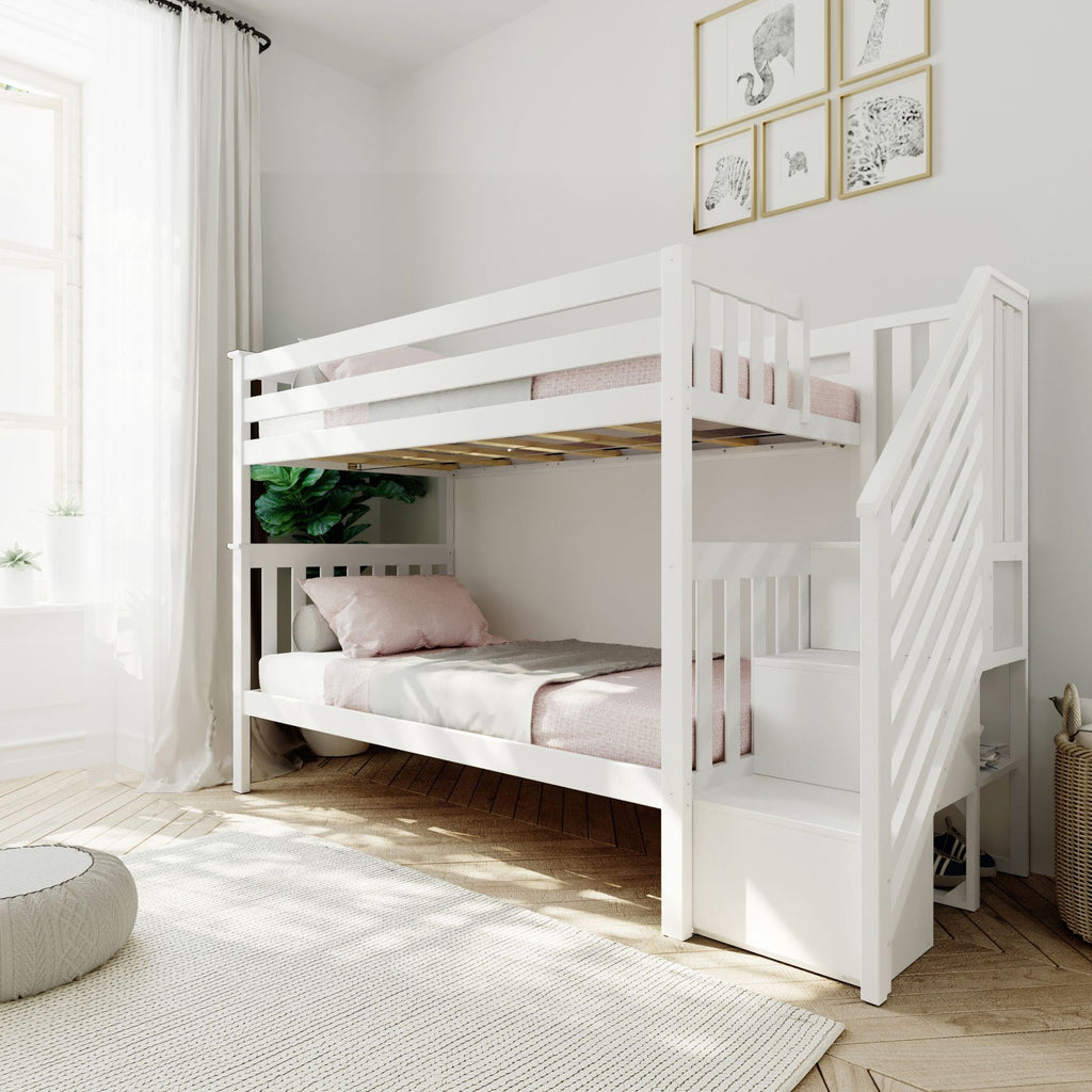 Max & Lily Twin over Twin Staircase Bunk Bunk Beds White