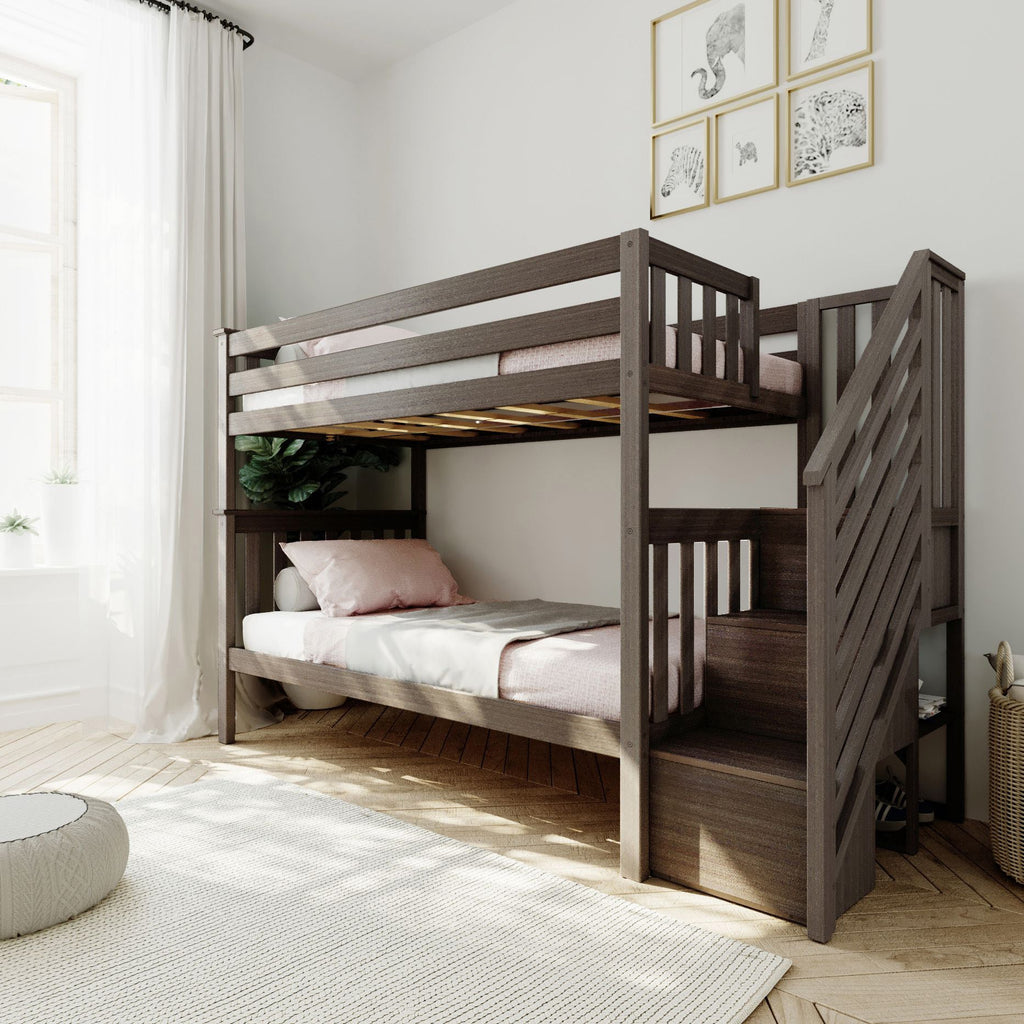 Max & Lily Twin over Twin Staircase Bunk Bunk Beds Clay