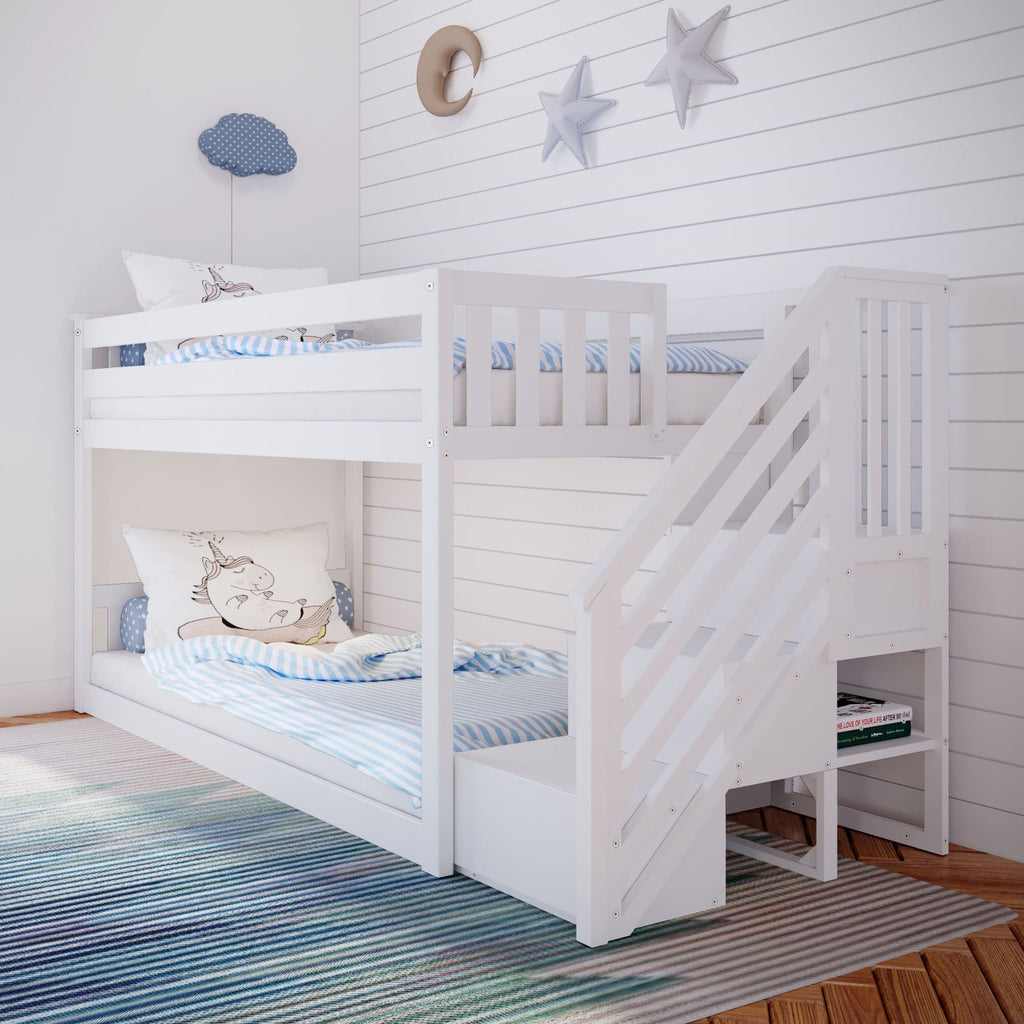 Max & Lily Kid's Twin Over Twin Size Low Bunk Bed with Staircase Bunk Beds White