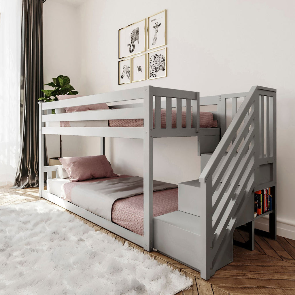 Max & Lily Kid's Twin Over Twin Size Low Bunk Bed with Staircase Bunk Beds Grey