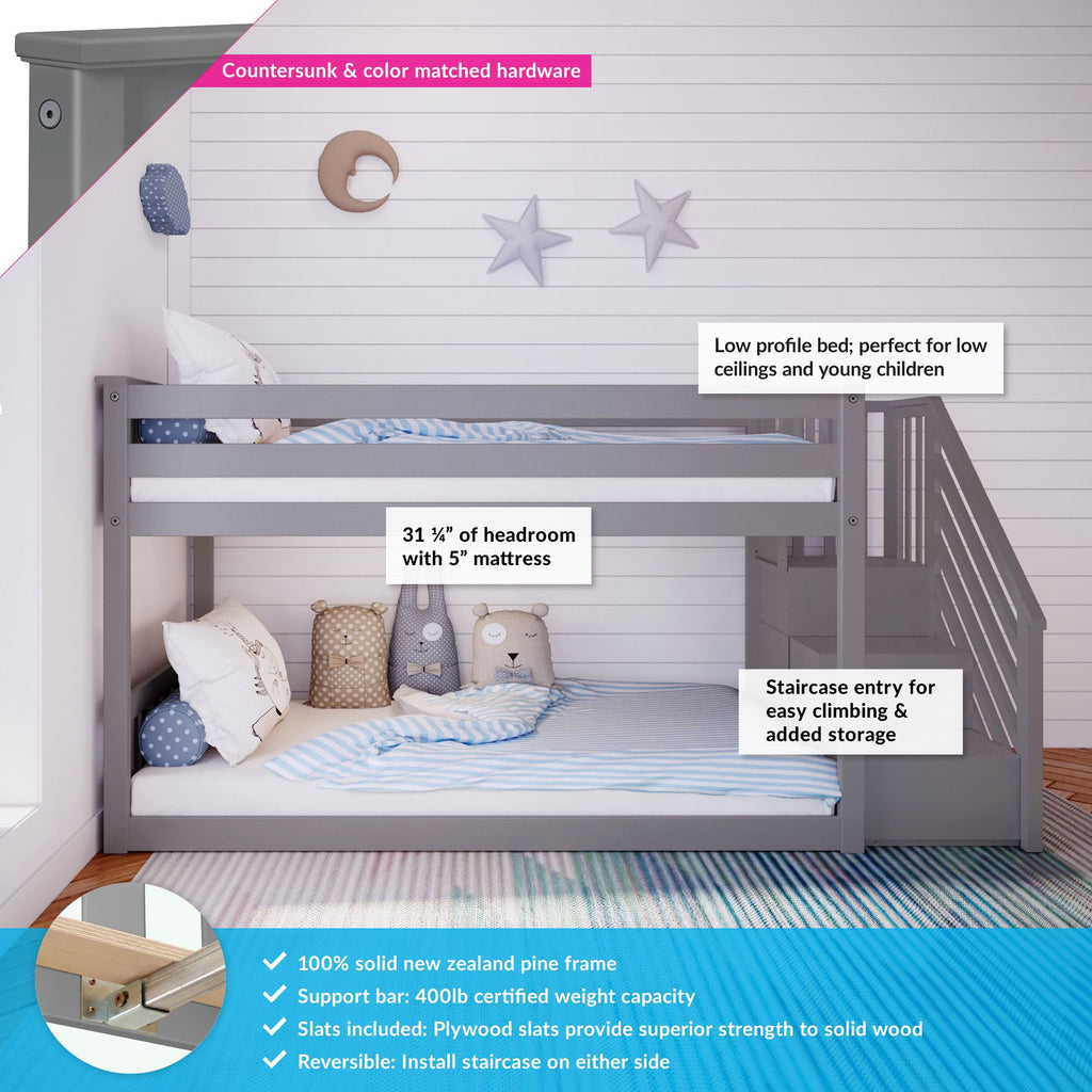 Max & Lily Kid's Twin Over Twin Size Low Bunk Bed with Staircase Bunk Beds