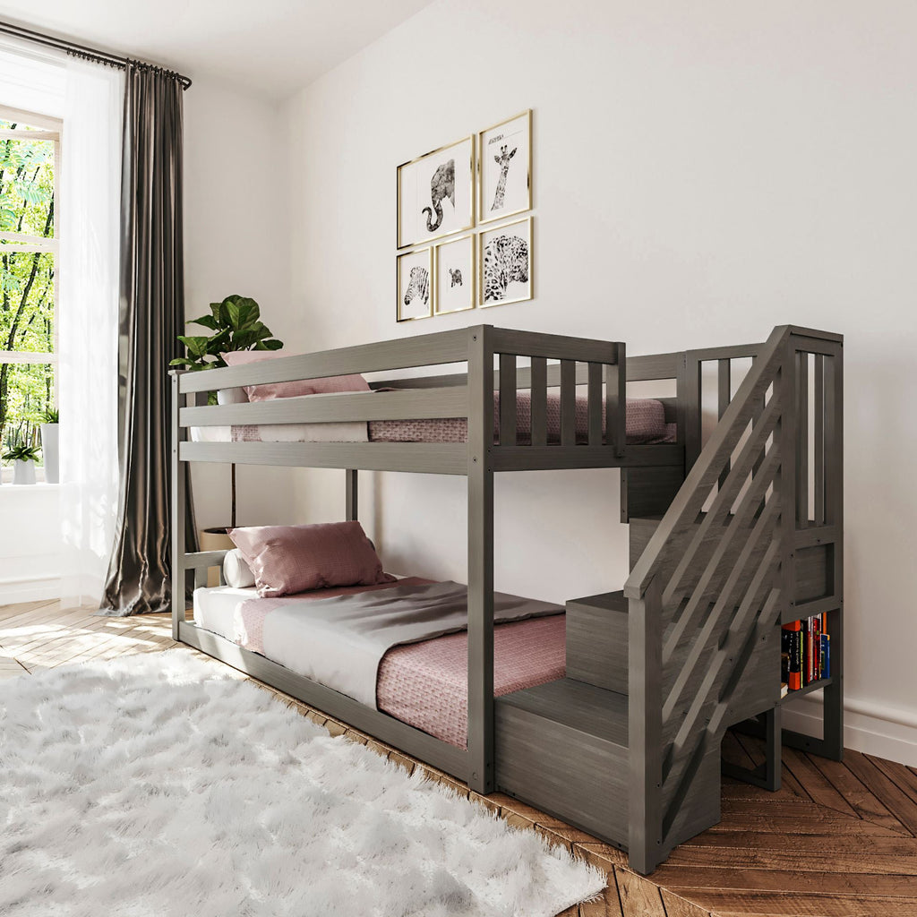 Max & Lily Kid's Twin Over Twin Size Low Bunk Bed with Staircase Bunk Beds Clay