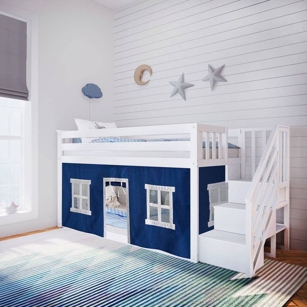 Max & Lily Low Bunk with Stairs and Curtains Bunk Beds White Blue