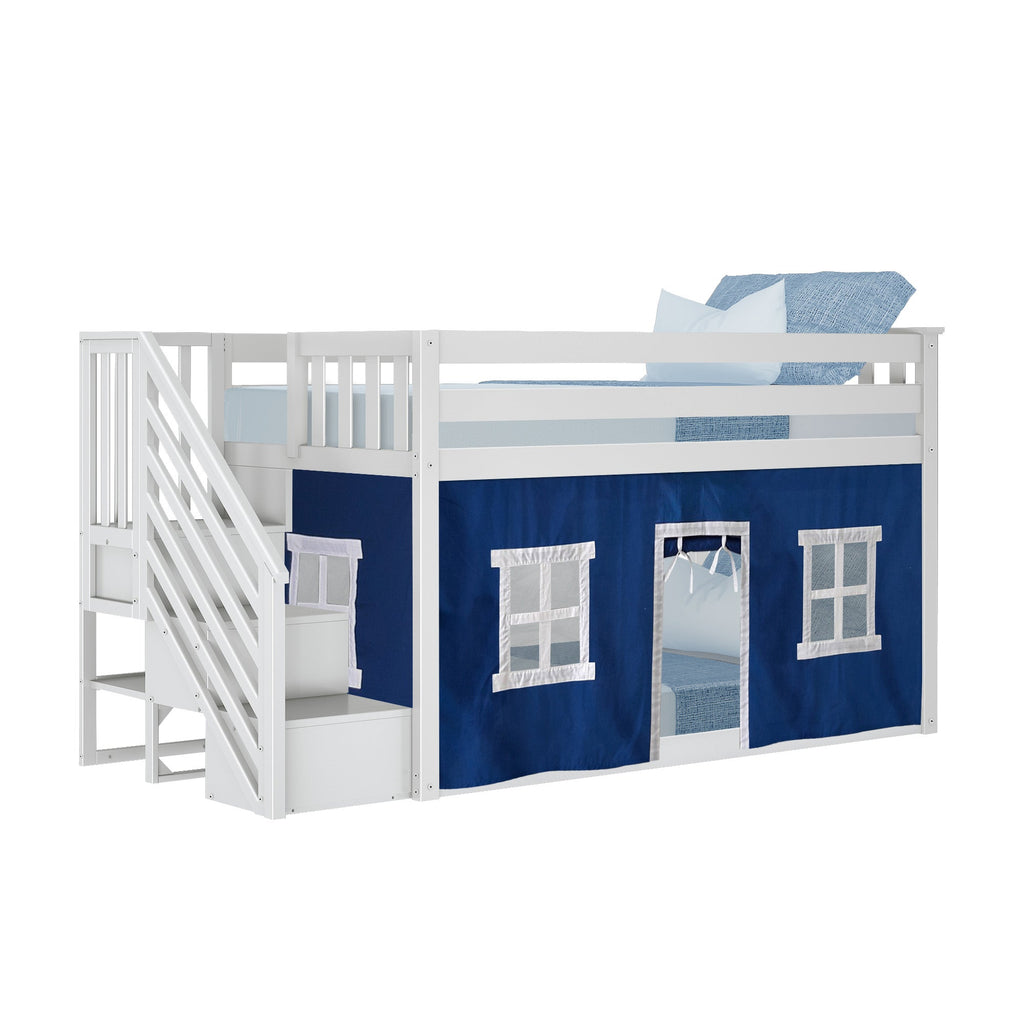 Max & Lily Low Bunk with Stairs and Curtains Bunk Beds