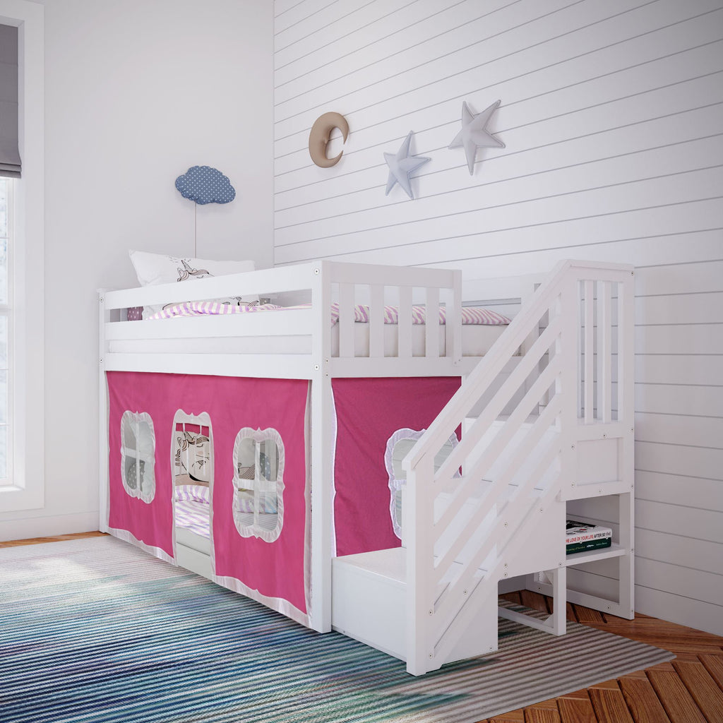 Max & Lily Low Bunk with Stairs and Curtains Bunk Beds White Pink