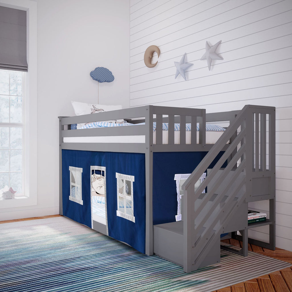Max & Lily Low Bunk with Stairs and Curtains Bunk Beds Grey Blue