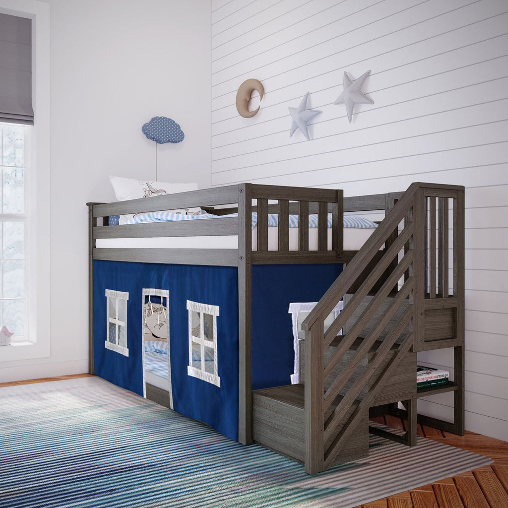 Max & Lily Low Bunk with Stairs and Curtains Bunk Beds Clay Blue