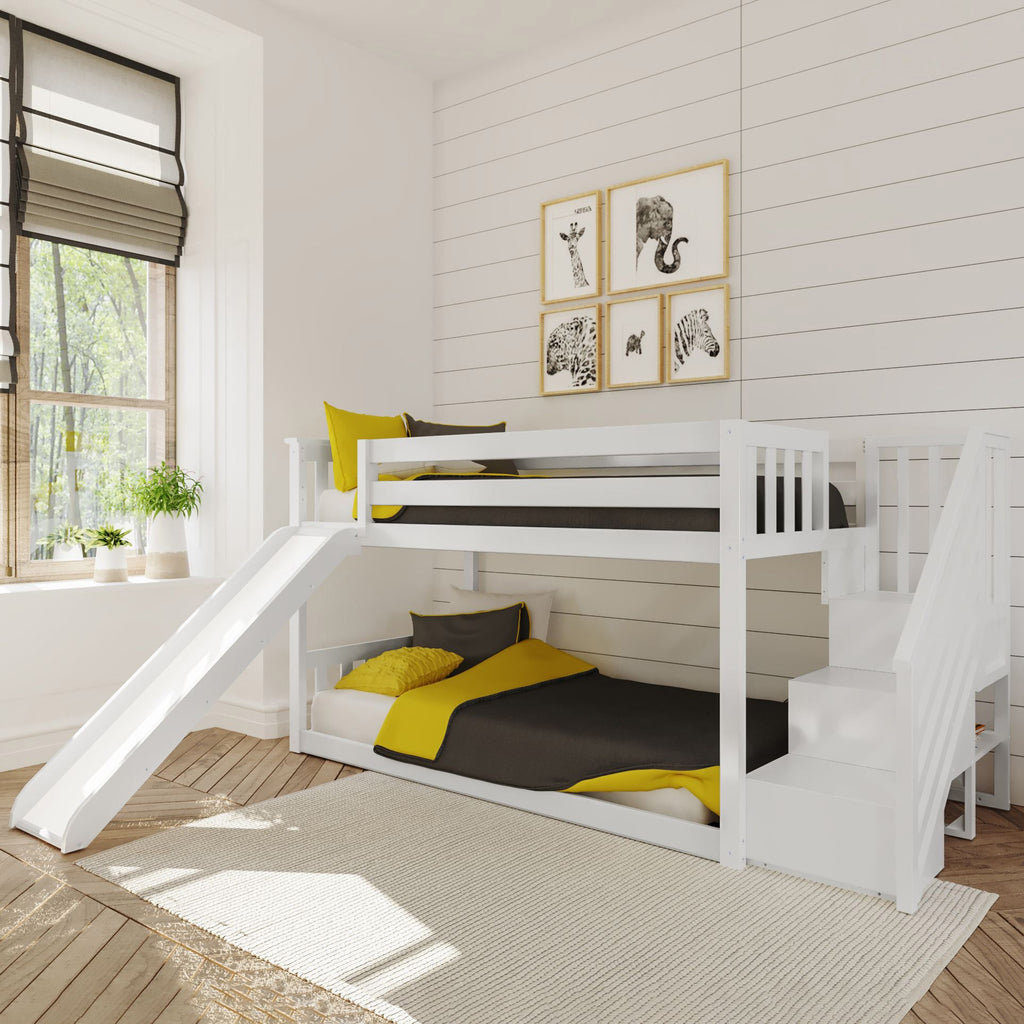 Max & Lily Low Bunk w/Staircase Bunk with Slide Bunk Beds White
