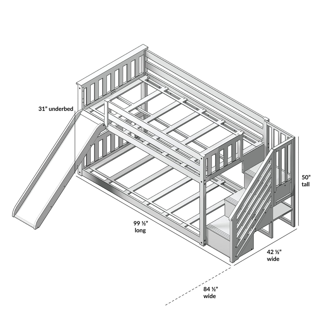 Max & Lily Low Bunk w/Staircase Bunk with Slide Bunk Beds