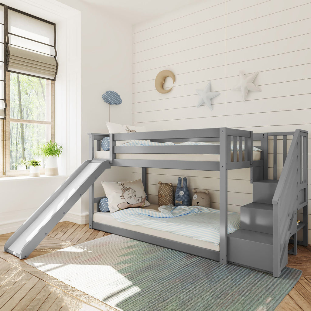 Max & Lily Low Bunk w/Staircase Bunk with Slide Bunk Beds Grey