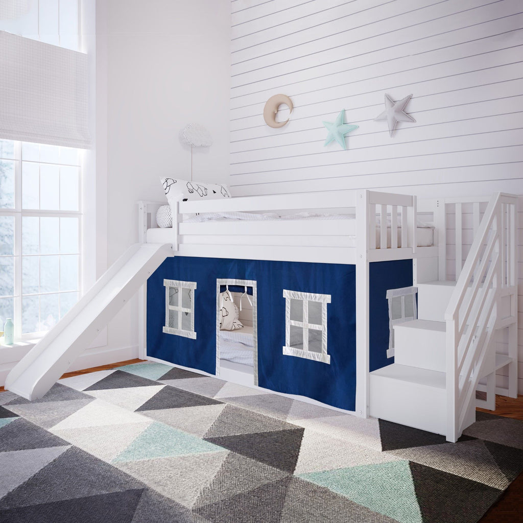 Max & Lily Low Bunk with Stairs and Slide with Curtains Bunk Beds White Blue