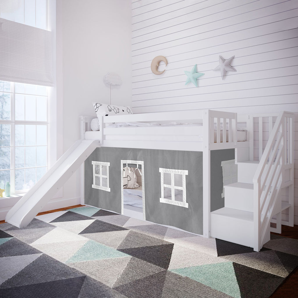 Max & Lily Low Bunk with Stairs and Slide with Curtains Bunk Beds White Grey