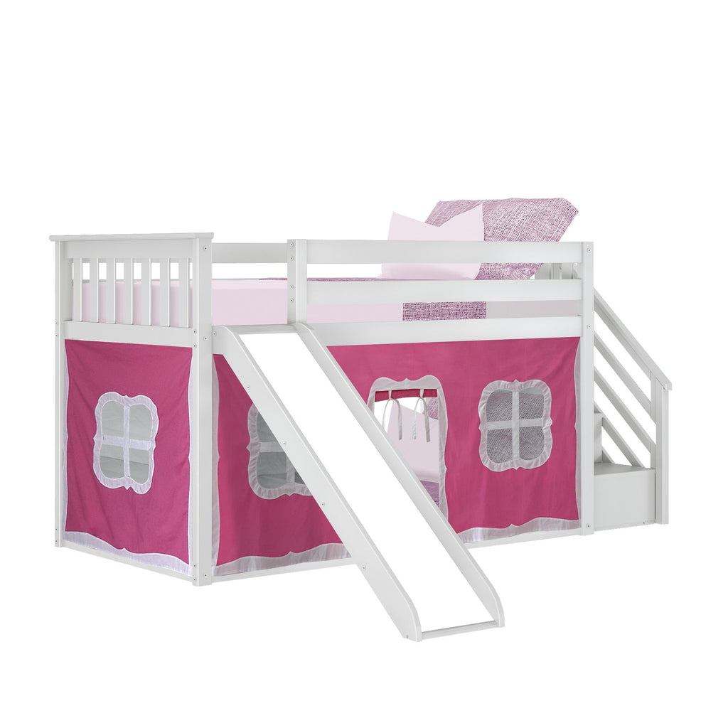 Max & Lily Low Bunk with Stairs and Slide with Curtains Bunk Beds