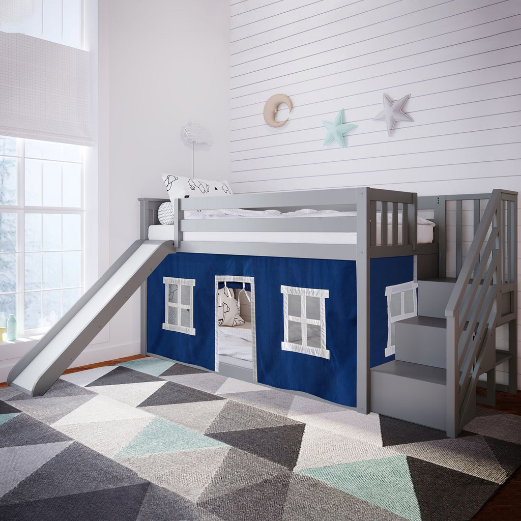 Max & Lily Low Bunk with Stairs and Slide with Curtains Bunk Beds Grey Blue