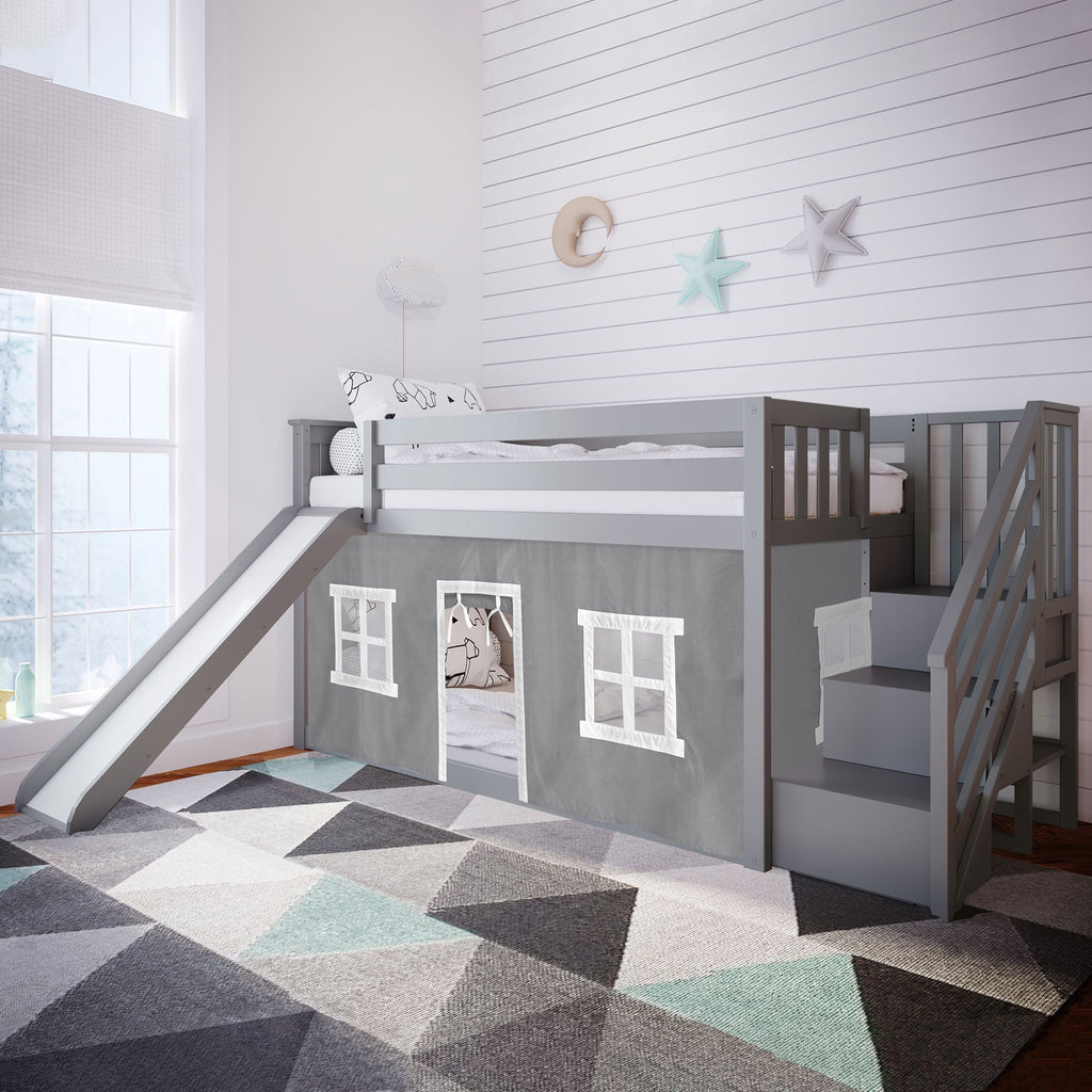 Max & Lily Low Bunk with Stairs and Slide with Curtains Bunk Beds Grey Grey
