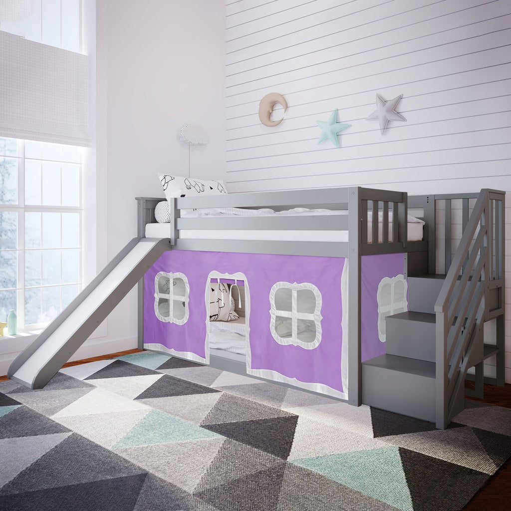 Max & Lily Low Bunk with Stairs and Slide with Curtains Bunk Beds Grey Purple