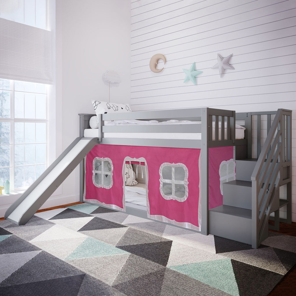Max & Lily Low Bunk with Stairs and Slide with Curtains Bunk Beds Grey Pink