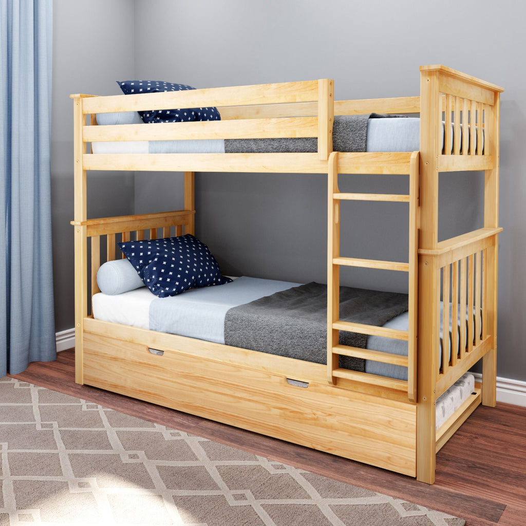 Max & Lily Kid's Twin Over Twin Size Bunk Bed with Trundle Bunk Beds Natural