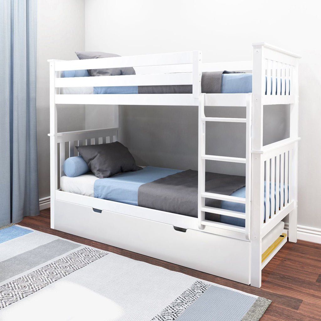 Max & Lily Kid's Twin Over Twin Size Bunk Bed with Trundle Bunk Beds White