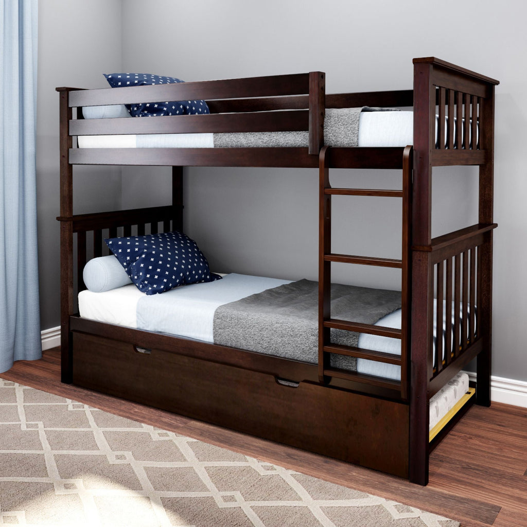 Max & Lily Kid's Twin Over Twin Size Bunk Bed with Trundle Bunk Beds Espresso