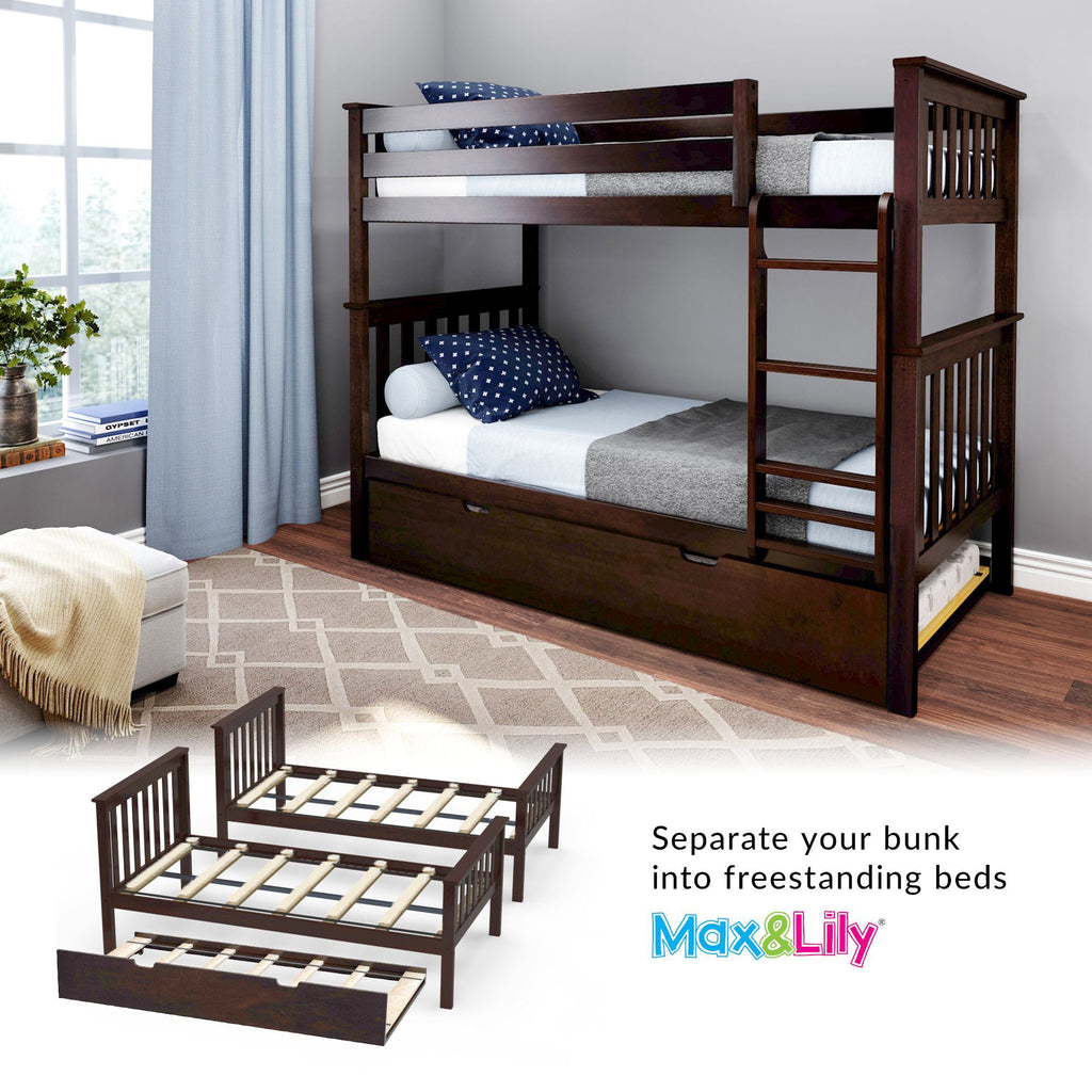 Max & Lily Kid's Twin Over Twin Size Bunk Bed with Trundle Bunk Beds