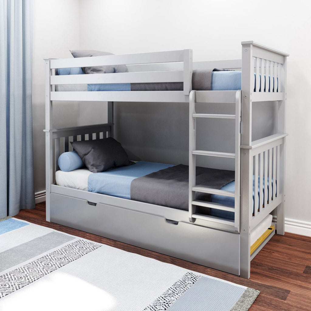 Max & Lily Kid's Twin Over Twin Size Bunk Bed with Trundle Bunk Beds Grey