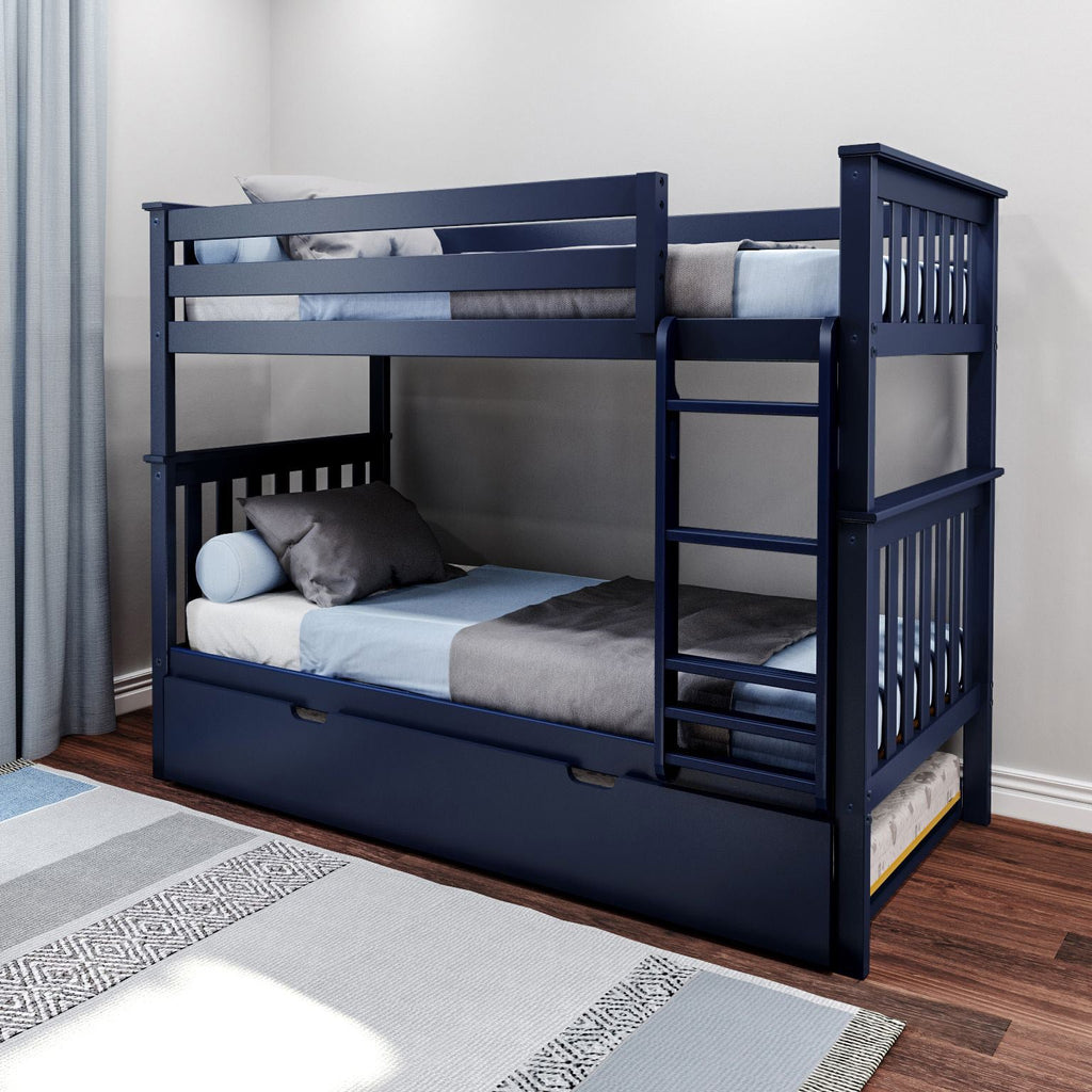 Max & Lily Kid's Twin Over Twin Size Bunk Bed with Trundle Bunk Beds Blue