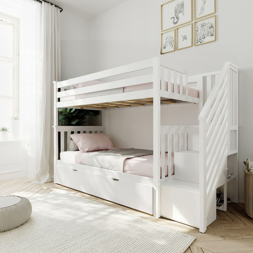 Max & Lily Twin over Twin Staircase Bunk with Trundle Bunk Beds White