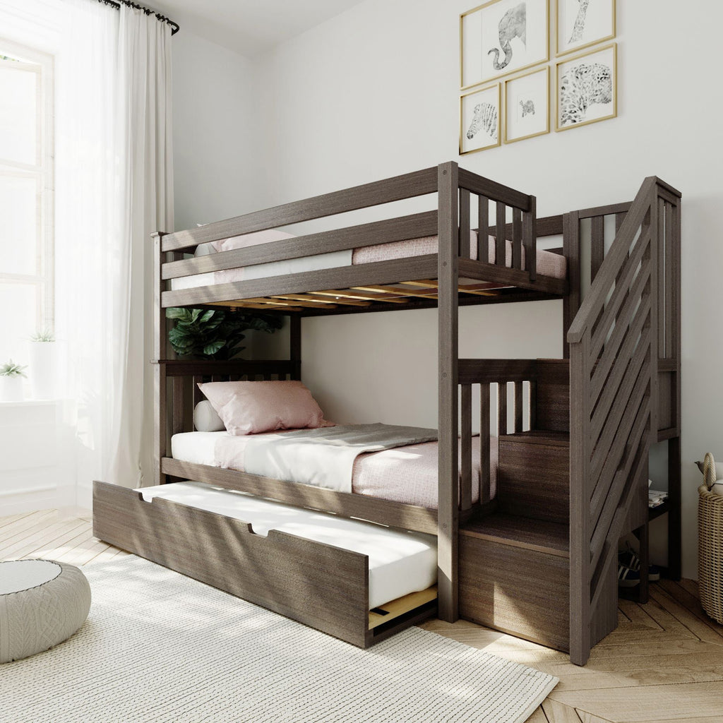 Max & Lily Twin over Twin Staircase Bunk with Trundle Bunk Beds Clay