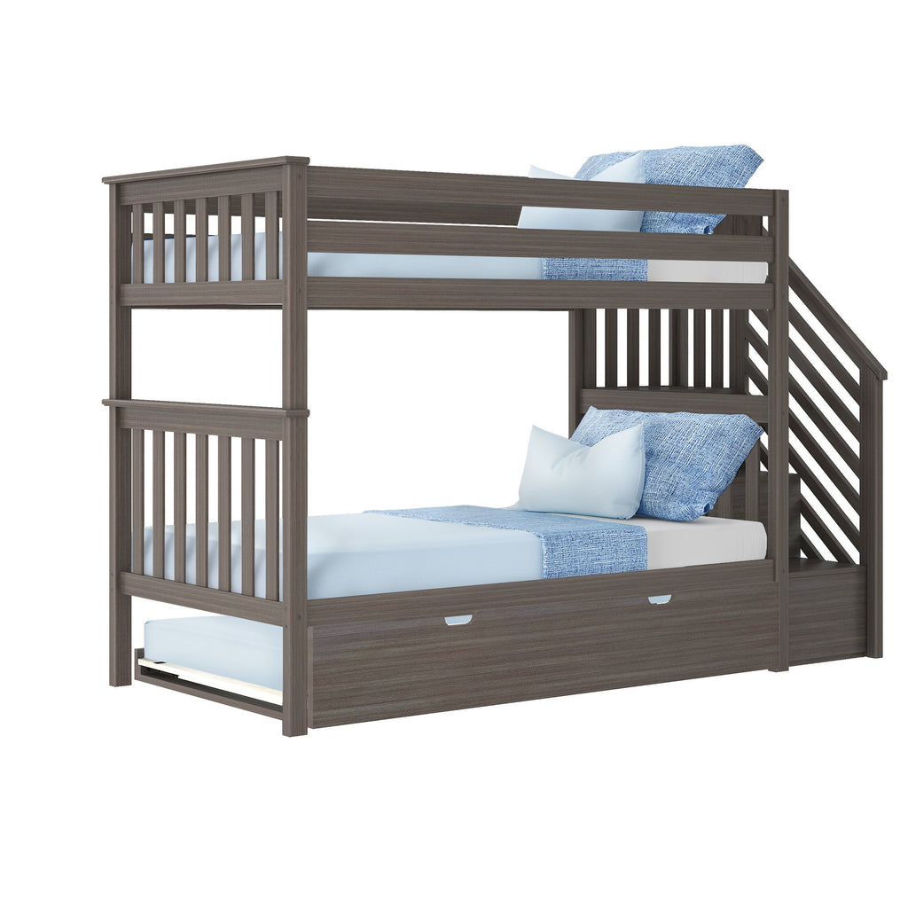 Max & Lily Twin over Twin Staircase Bunk with Trundle Bunk Beds