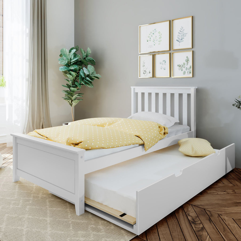 Max & Lily Kid's Twin Size Bed with Trundle Kids Beds White