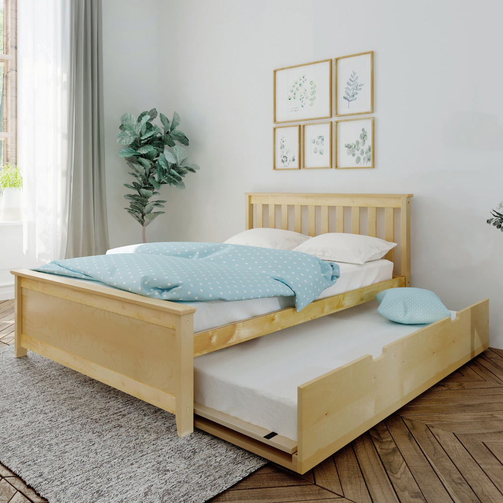 Max & Lily Kid's Full Size Bed with Trundle Kids Beds Natural