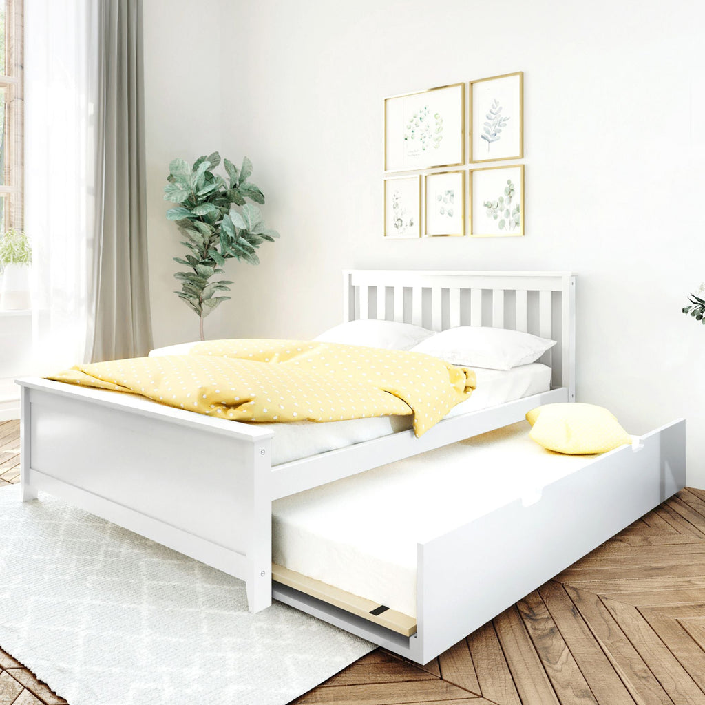 Max & Lily Kid's Full Size Bed with Trundle Kids Beds White