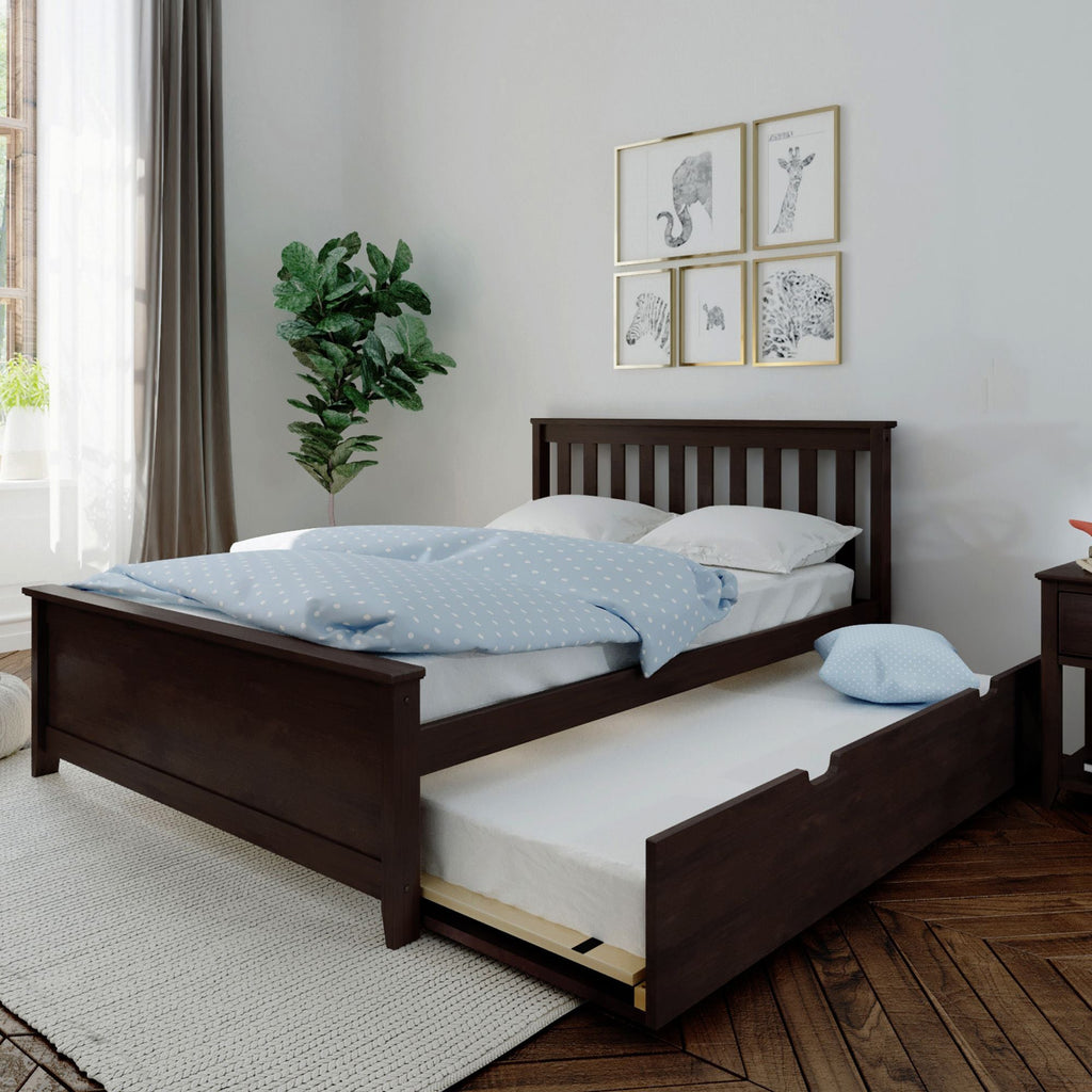 Max & Lily Kid's Full Size Bed with Trundle Kids Beds Espresso