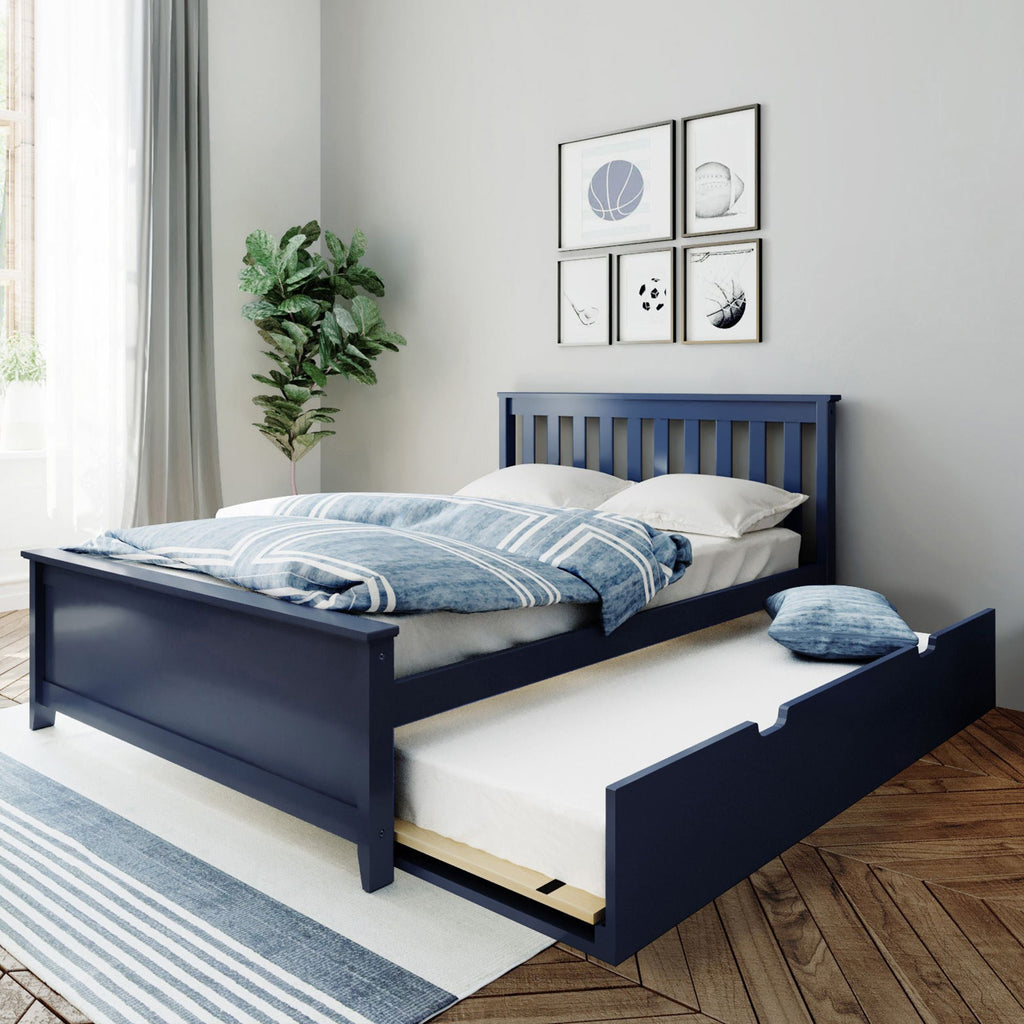 Max & Lily Kid's Full Size Bed with Trundle Kids Beds Blue