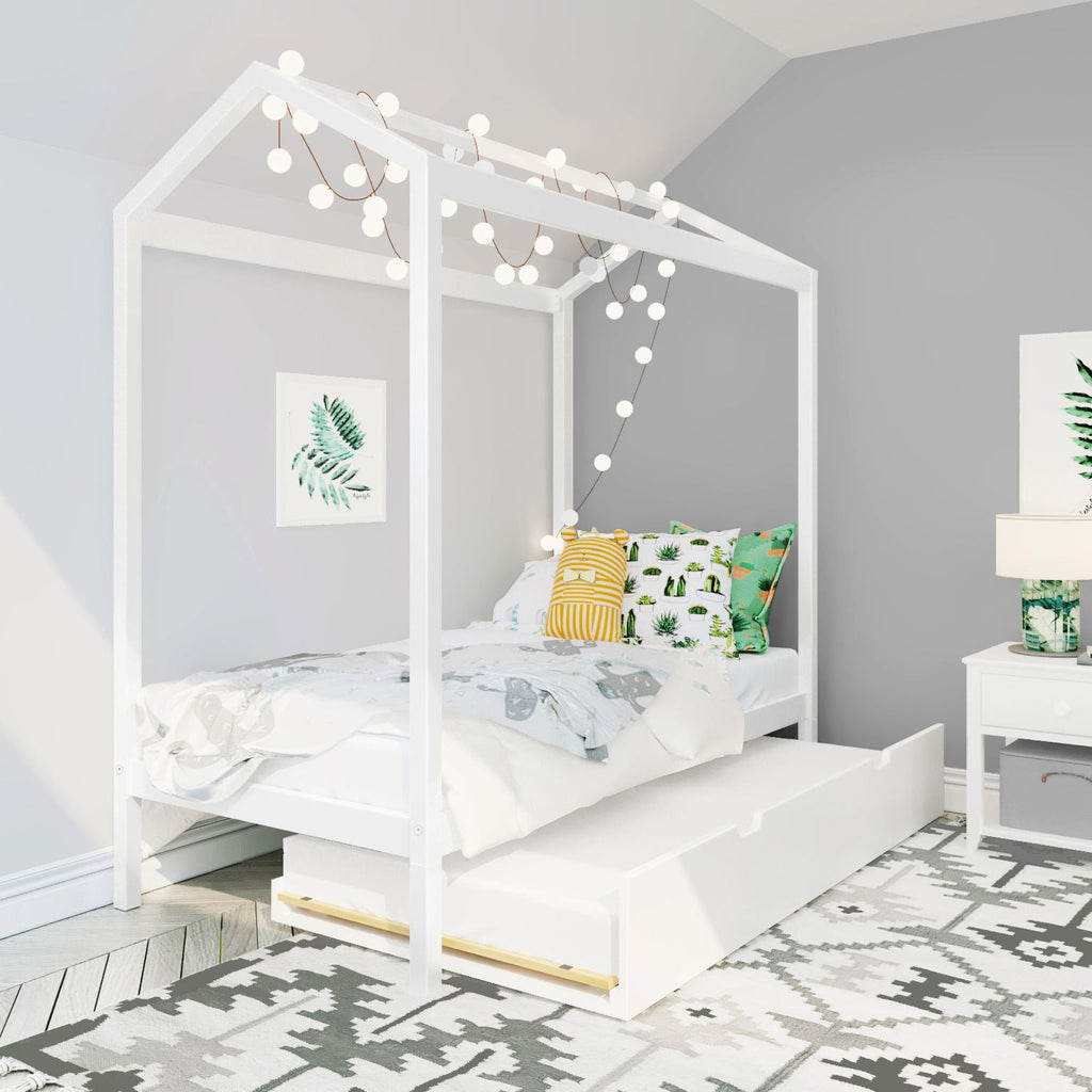 Max & Lily Twin-Size Trundle Twin House Bed Kids Beds White