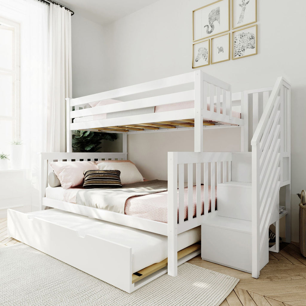 Max & Lily Twin over Full Staircase Bunk with Trundle Bunk Beds White