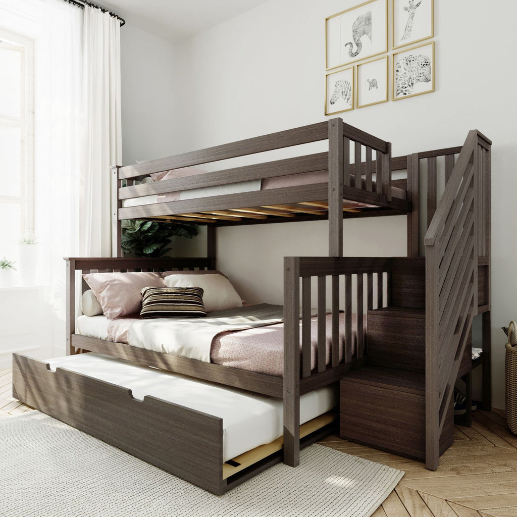 Max & Lily Twin over Full Staircase Bunk with Trundle Bunk Beds Clay