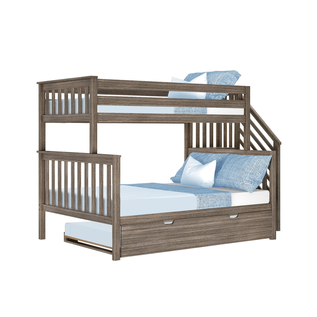 Max & Lily Twin over Full Staircase Bunk with Trundle Bunk Beds