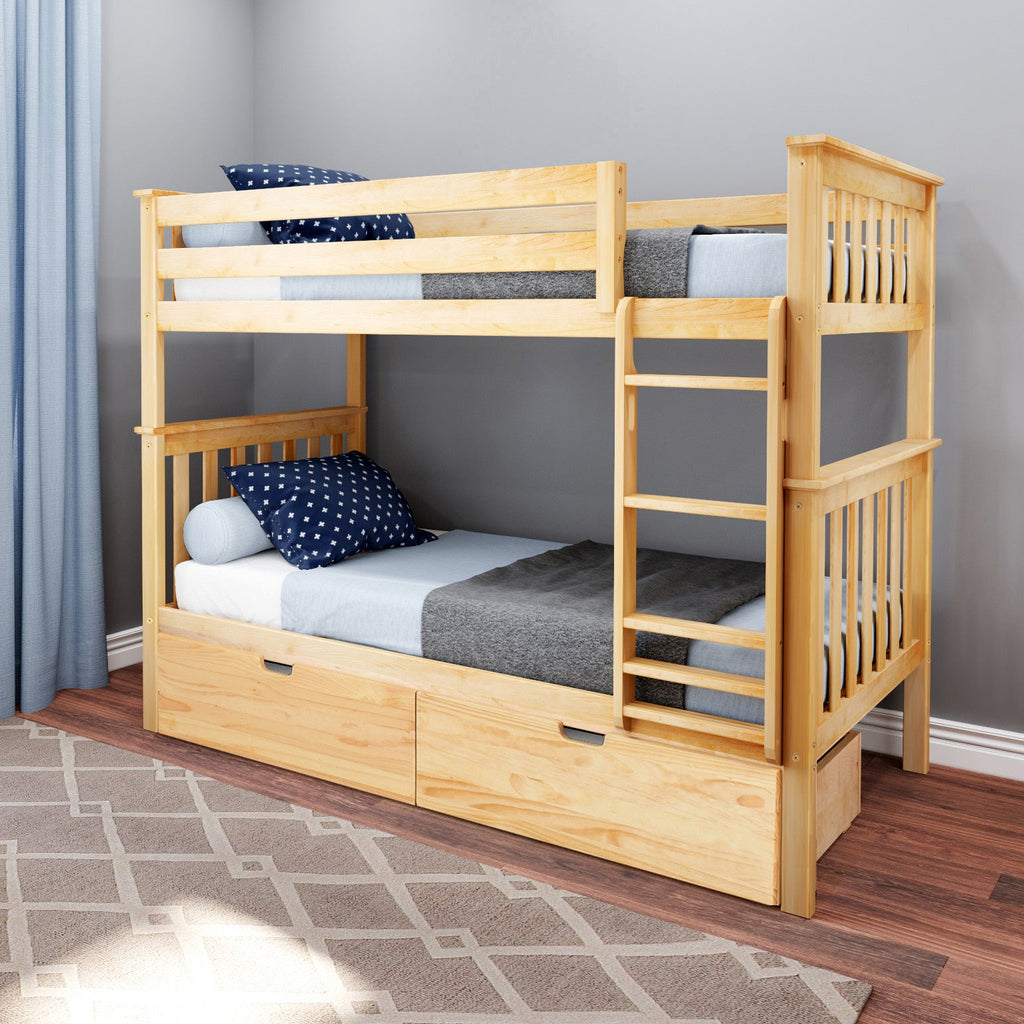 Max & Lily Kid's Twin Over Twin Size Bunk Bed with Storage Drawers Bunk Beds Natural