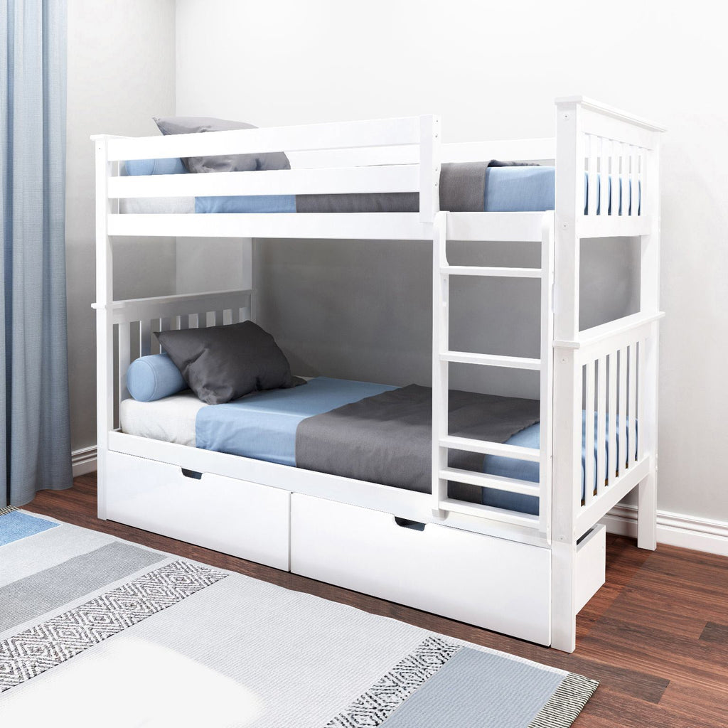 Max & Lily Kid's Twin Over Twin Size Bunk Bed with Storage Drawers Bunk Beds White